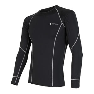 SENSOR COOLMAX TEE LS MEN BLACK