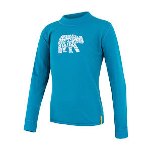 SENSOR MERINO DF tee ls YOUTH blu bear