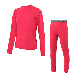 MERINO AIR SET tee ls + underpants YOUTH dark magenta