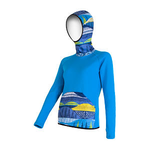 SENSOR TECNOSTRETCH SWEATSHIRT HOODED WOM BLUE PATTERN