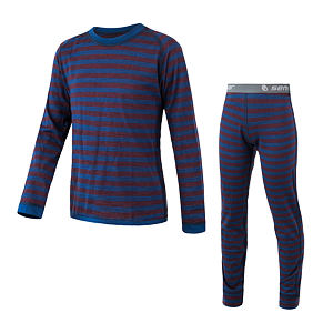MERINO AIR SET tee ls + underpants YOUTH blu/red stripes