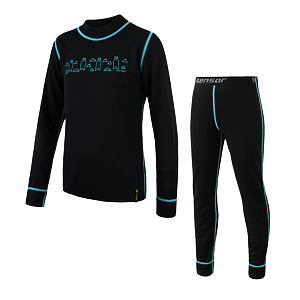 SENSOR DOUBLE FACE SET tee ls + underpants YOUTH blk