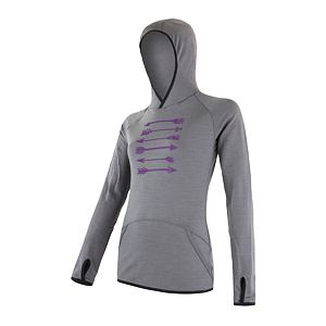 SENSOR MERINO UPPER fleece hooded WOM gry arrows