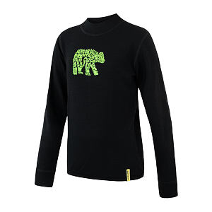 SENSOR MERINO DF tee ls YOUTH blk bear