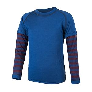 SENSOR MERINO AIR PT tee ls YOUTH blu/stripes