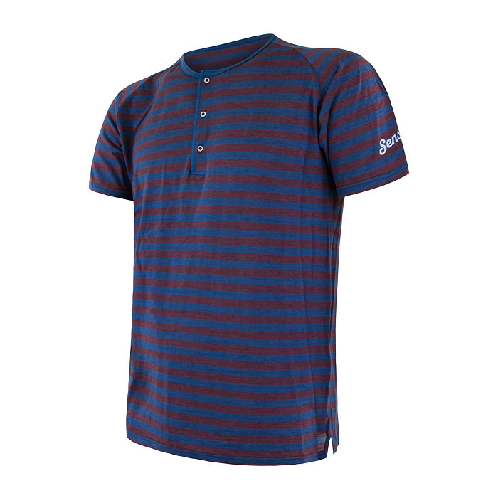 MERINO AIR PT tee ss button MEN blu/red stripes