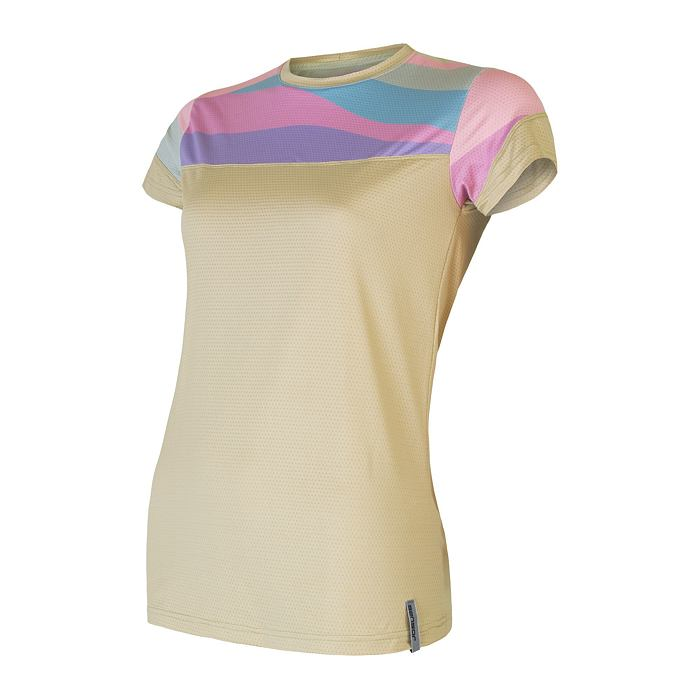 COOLMAX IMPRESS tee ss WOM sand/stripes