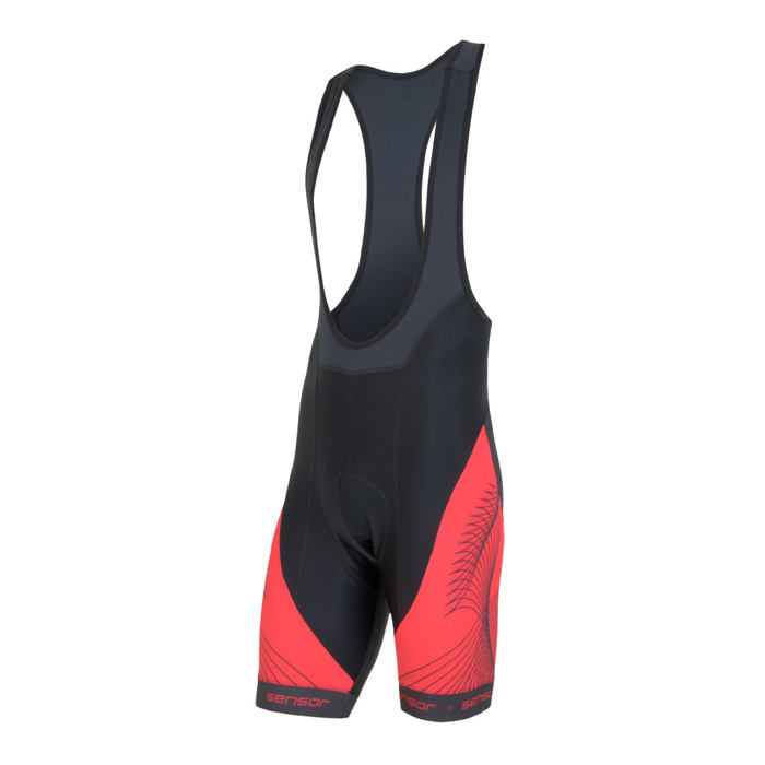 SENSOR CYCLING BIB SHORTS MEN BLACK/RED TEAM